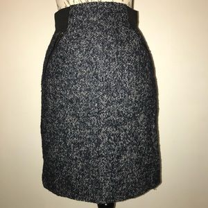 Halogen Navy Blue Tweed Wool Blend Skirt Size 2